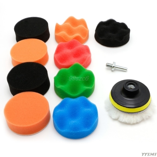 "11 Pcs 3/4/5/6/7"" Buffing Sponge Polishing Pad Kit Set For Car Polisher Buffer Car Wash Maintenance Sponges DropShip"