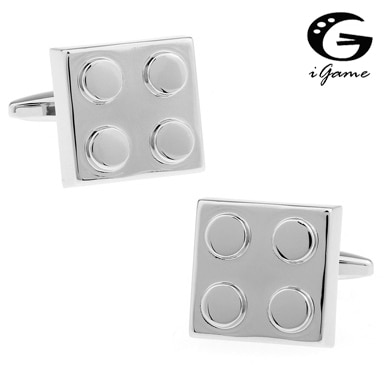 iGame Factory Supply Designer Cufflinks For Men Brass Copper Material Building Blocks Design Cuff Links Free Shipping