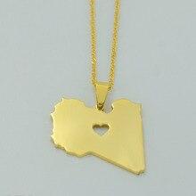 Couleur or état de libye cartes pendentif collier avec coeur pour femmes hommes bijoux libye pays cartes # J0531