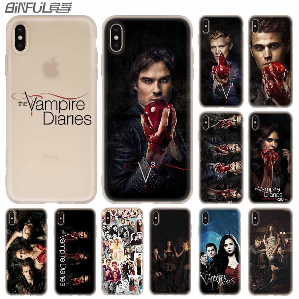 Casos de teléfono de silicona suave para iPhone 11 Pro X XS X Max XR 6S 6 7 8 Plus 5 4S SE diarios del vampiro feroz Coque caso