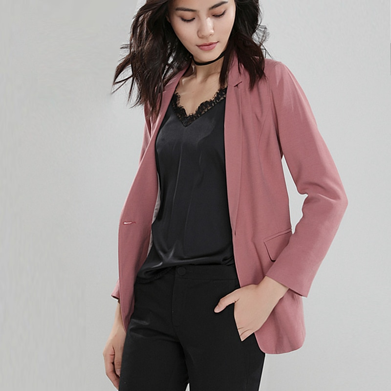 Blazers feminino terno 91% viscose tecido único botão mangas compridas senhoras terno roupas de escritório primavera outono nova moda
