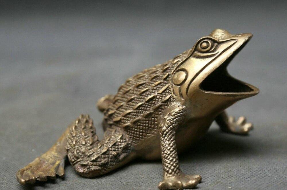 "6,9 ""colecta la estatua de la estatua del Spittor de las ranas doradas de la rana de bronce China"