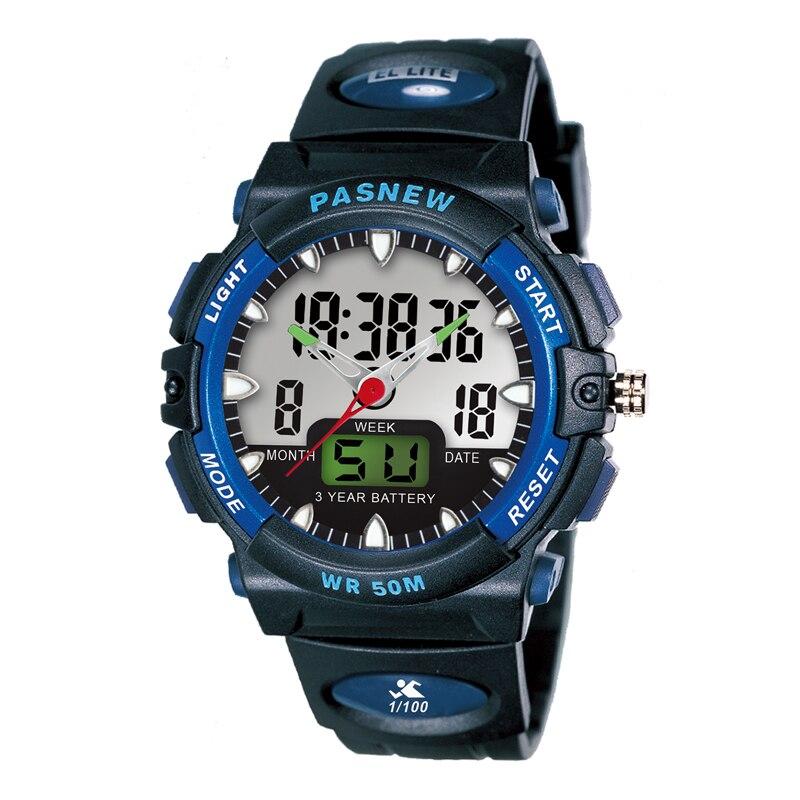 PASNEW Top Brand Watch Men Sports Watches Dual Display Analog Digital Quartz Watches 50M Waterproof