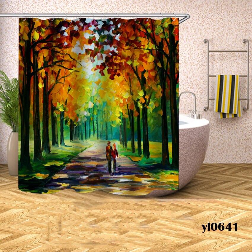 Cortina de ducha con estampado escénico, cortina de baño resistente al agua con árboles de vista para la bañera, cubierta de baño, gran ancho, 12 Uds de ganchos