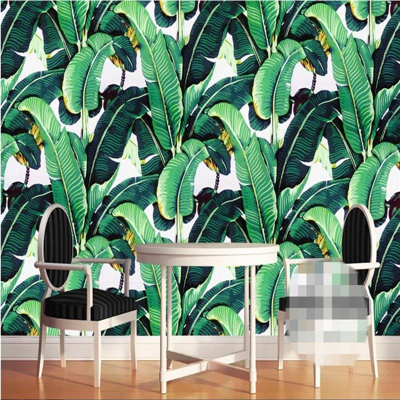 Fondo de pantalla personalizado beibehang, retro europeo, pintado a mano, bosque tropical, planta, hojas de plátano, Fondo de murales de pared pastoral