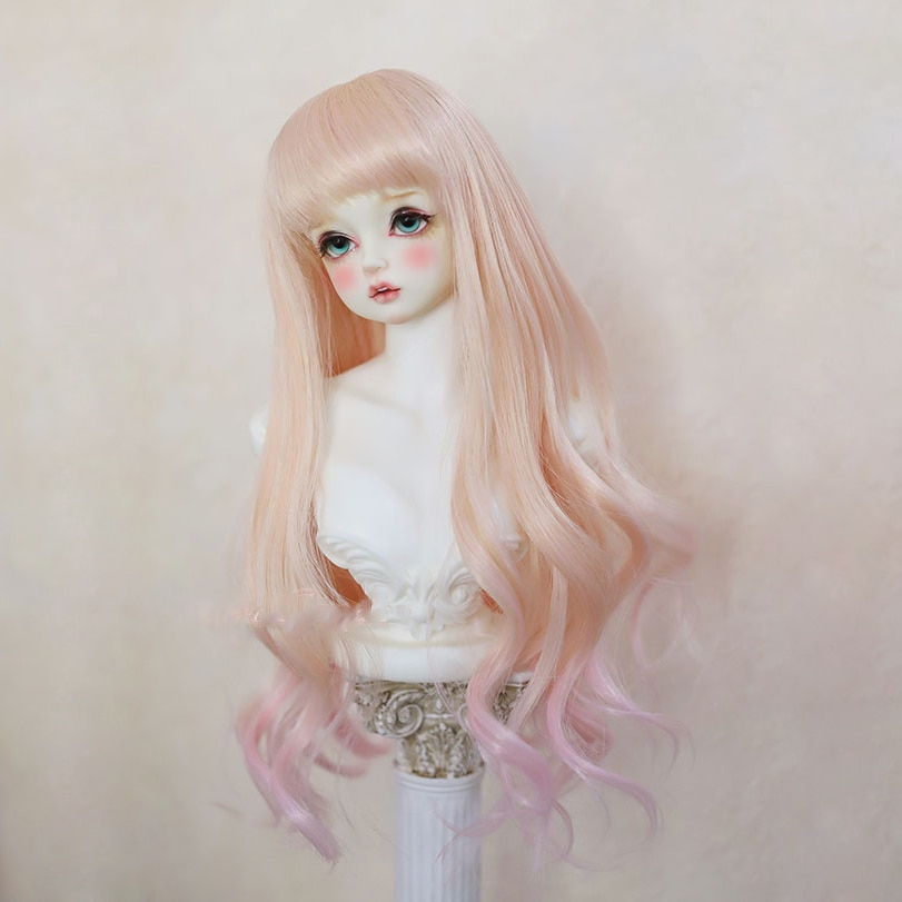Bybrana BJD wigs girl 1/3 1/4 1/6 SD High Temperature Fiber hair curly hair long Gradient color doll wig