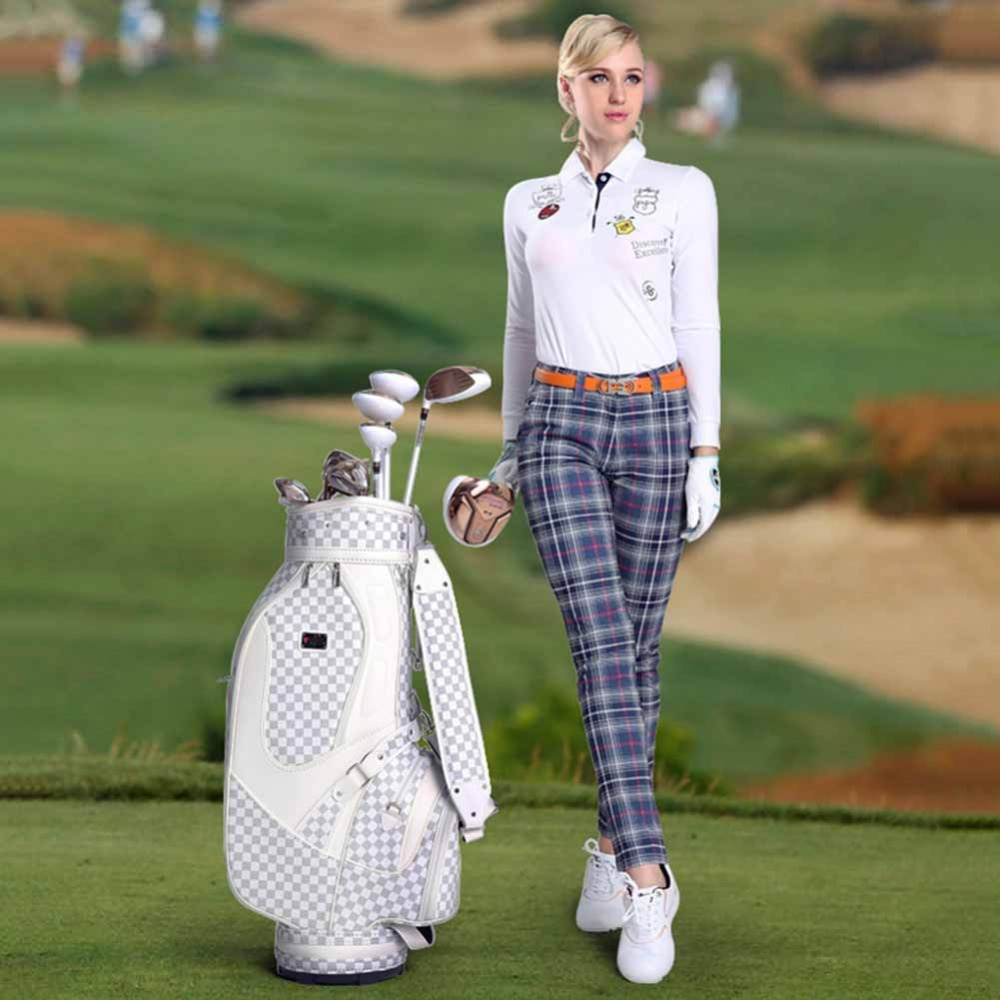 PGM Golf PU Leather Bag Men & Women Standard Durable Golf Bag Vintage Plaid Golf Club Bag Lady Bolsa de Golf Training Equipment