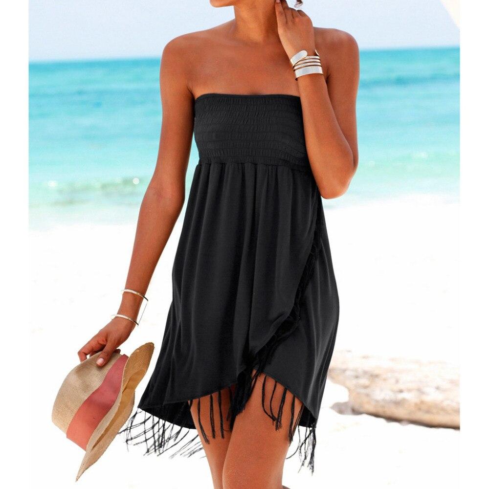 Vestido de playa salida de ba o mujeres playa jupe plage plaj elbisesi mujeres Sexy Boho vestido de la borla del hombro 2019
