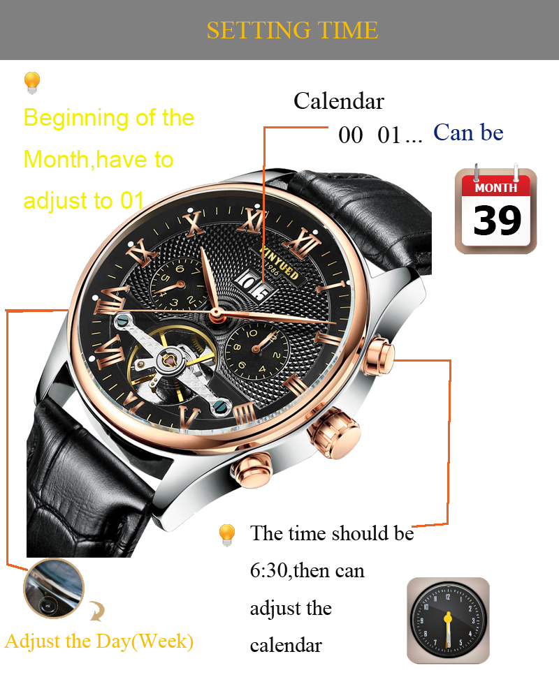 Kinyued Skeleton Watch Mężczyźni Automatyczna Wodoodporna Top Marka Męskie Zegarki Mechaniczne Skóry Kalendarza Złota Róża Relógio Masculino 8