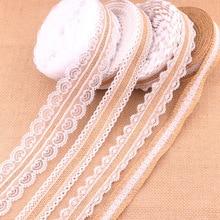 1Meter/Lot 25mm Natural Jute Burlap Hessian Lace Ribbon with White Lace Trim Edge Rustic Vintage Wedding Centerpieces Decor