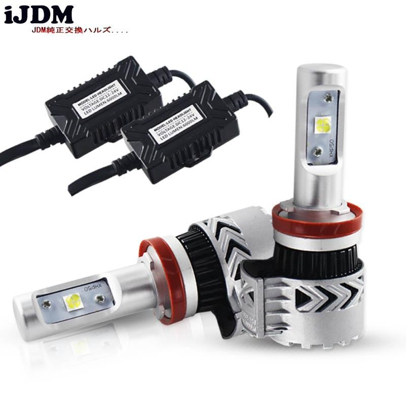 iJDM Car H4 H7 H11 LED Bulbs White 9005/HB3 9006/HB4 H1 H3 H8 LED For car High Low Beam Lights Headlight Fog Light Bulbs White