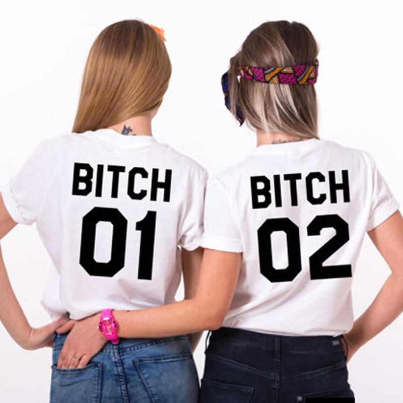 Mejor Amigo BITCH01 02 imprimir mujeres camiseta de tamaño grande suelta algodón...