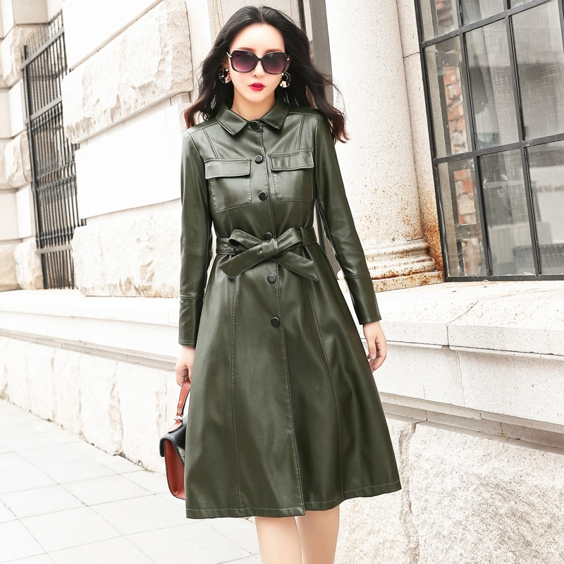 Women Long Faux Leather Jacket With Belt 2018 Autumn Winter Ladies New Washed PU Leather Trench Coats Female Long Outerwear enlarge
