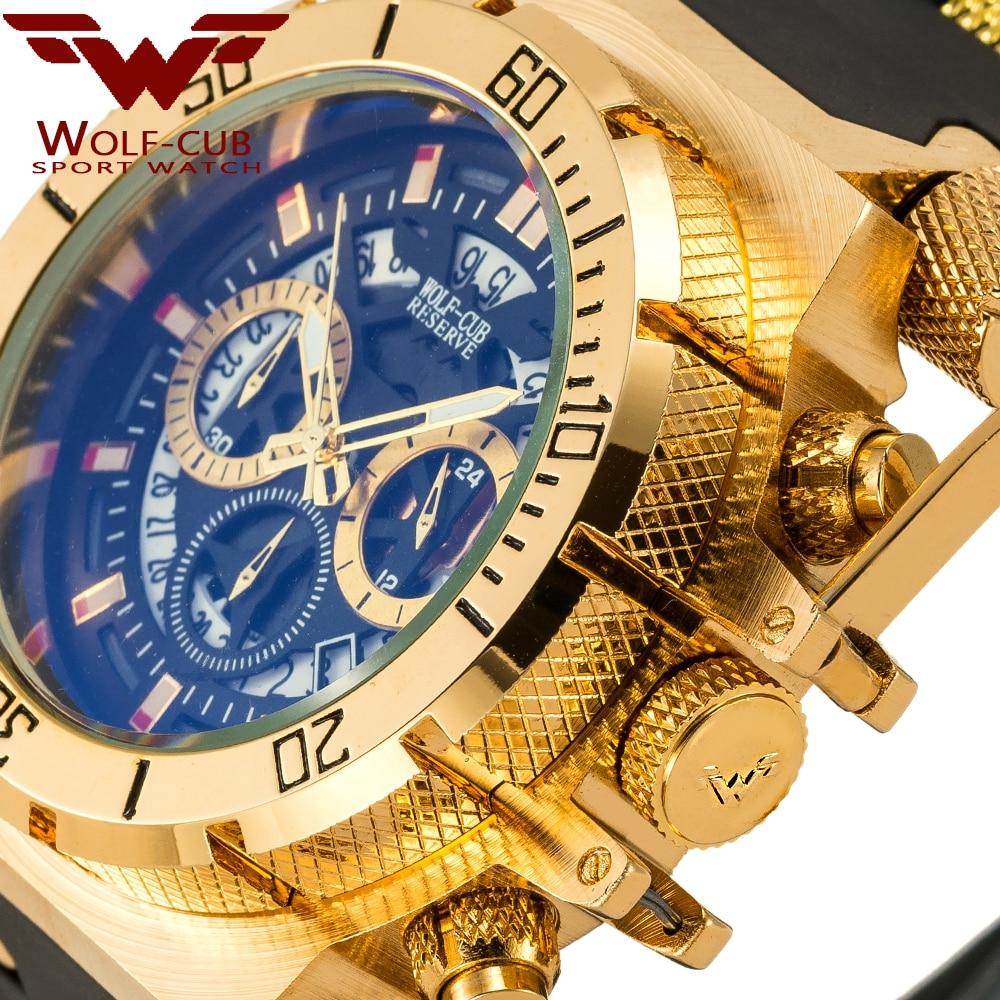 WOLF-CUB-ساعة يد كوارتز رجالية ، أصلية ، إبداعية ، ذهبية ، تصميم قرص ثلاثي الأبعاد ، تقويم فولاذي كامل ، مقاوم للماء ، كرونوغراف كبير