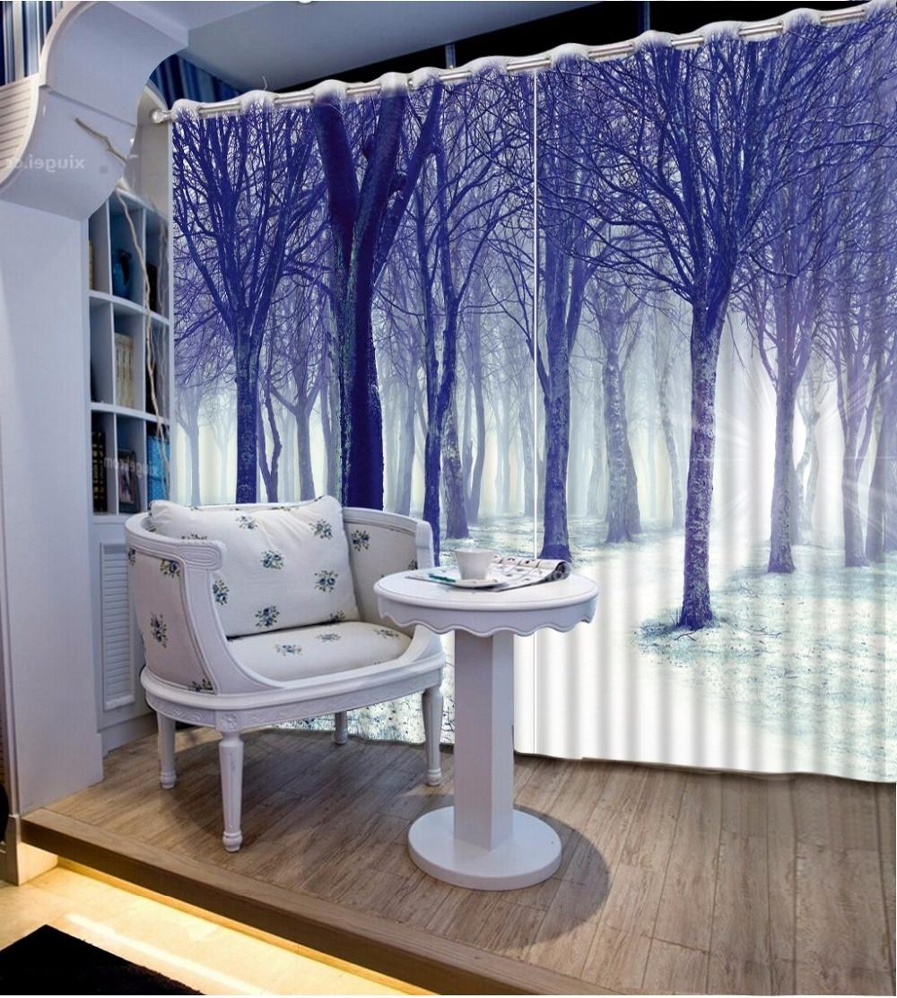 Cortina de baño de bosque de árbol, invierno blanco natural nieve en rama de árbol, cortina de impresión artística de granja de campo para sala de estar dormitorio 2 paneles