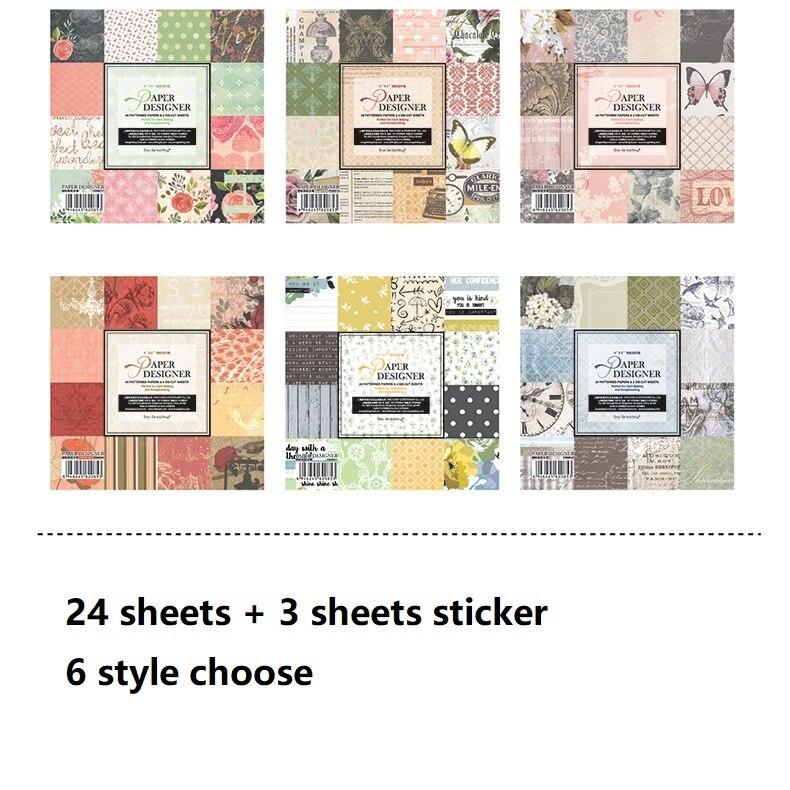 """24 hojas 6 """"DIY retro vintage diseño regalo papel de embalaje creativo papercraft agregar pegatina hecho a mano conjunto de álbum de recortes libro"""