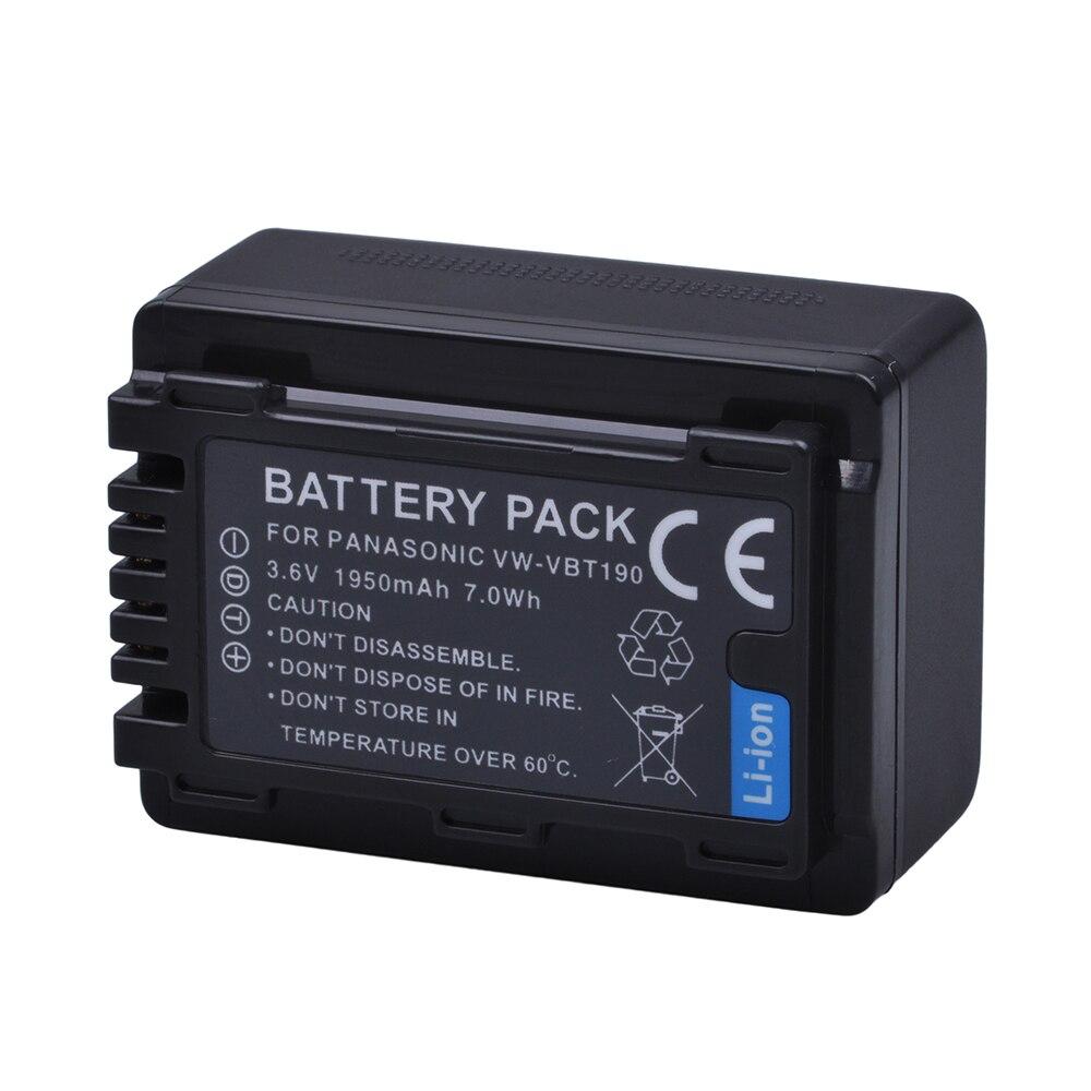1Pc VW-VBT190 VBT190 VW-VBT380 VBT380 batería para Panasonic HC-V110... HC-V130... HC-V160... HC-V180... HC-V201... HC-V250... HC-V260