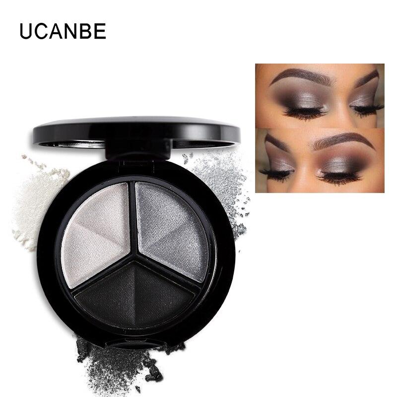 UCANBE iluminador de maquillaje paleta de sombra de ojos 3 colores Smoky Cosmetics Set profesional Natural mate sombra de ojos elegante paleta brillo