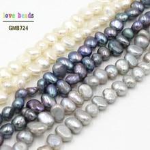 Miçangas de pérolas para fazer jóias, 3-5mm, pérolas soltas brancas e cinza natural, para fazer jóias, faça você mesmo, pulseira