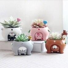 Jardinières en résine animaux à lenvers 1 pièce   Mini Pots de fleurs mignons Kawaii pour bonsaï de bureau, décoration de jardin domestique