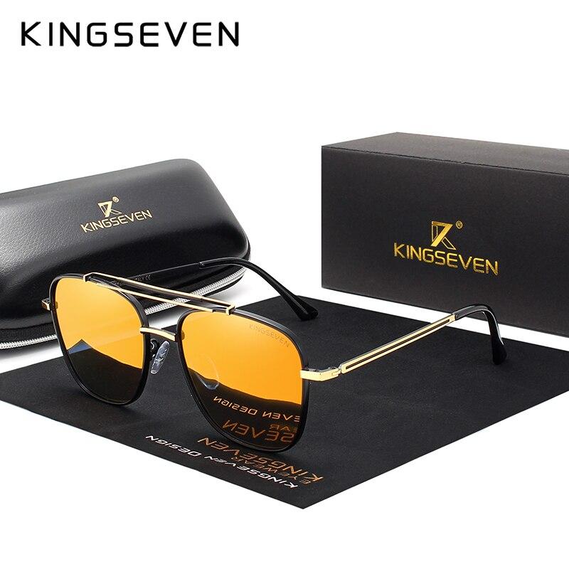Gafas de sol Retro polarizadas con diseño de marca KINGSEVEN para hombre, gafas de sol Vintage con marco metálico para hombres que conducen gafas UV400