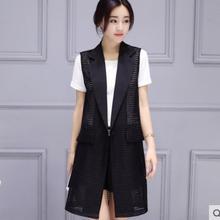 Brief OL Solid Hidden Breasted Long Women Suits Blazer feminino jacket Ladies Plus Size Hollow Business Blaser mujer coat