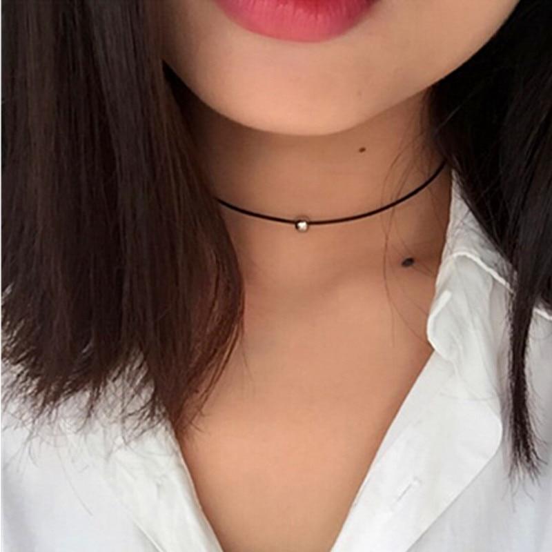 Ожерелье с кожаным шнуром, черное ожерелье с плетеной оплеткой, длинное ожерелье для женщин x14