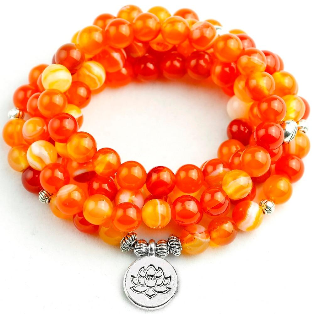 8 MM Orange rayure Onyx Mala Bracelet femmes Lotus arbre aile pendentif collier unisexe 108 perles de prière pierre bijoux hommes