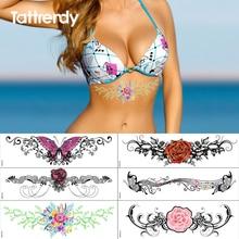 Tatuajes temporales de belleza a la moda impermeables estilo de playa chicas en bikini mujeres sexi pintura corporal tatuajes falsos en esternón breastbon