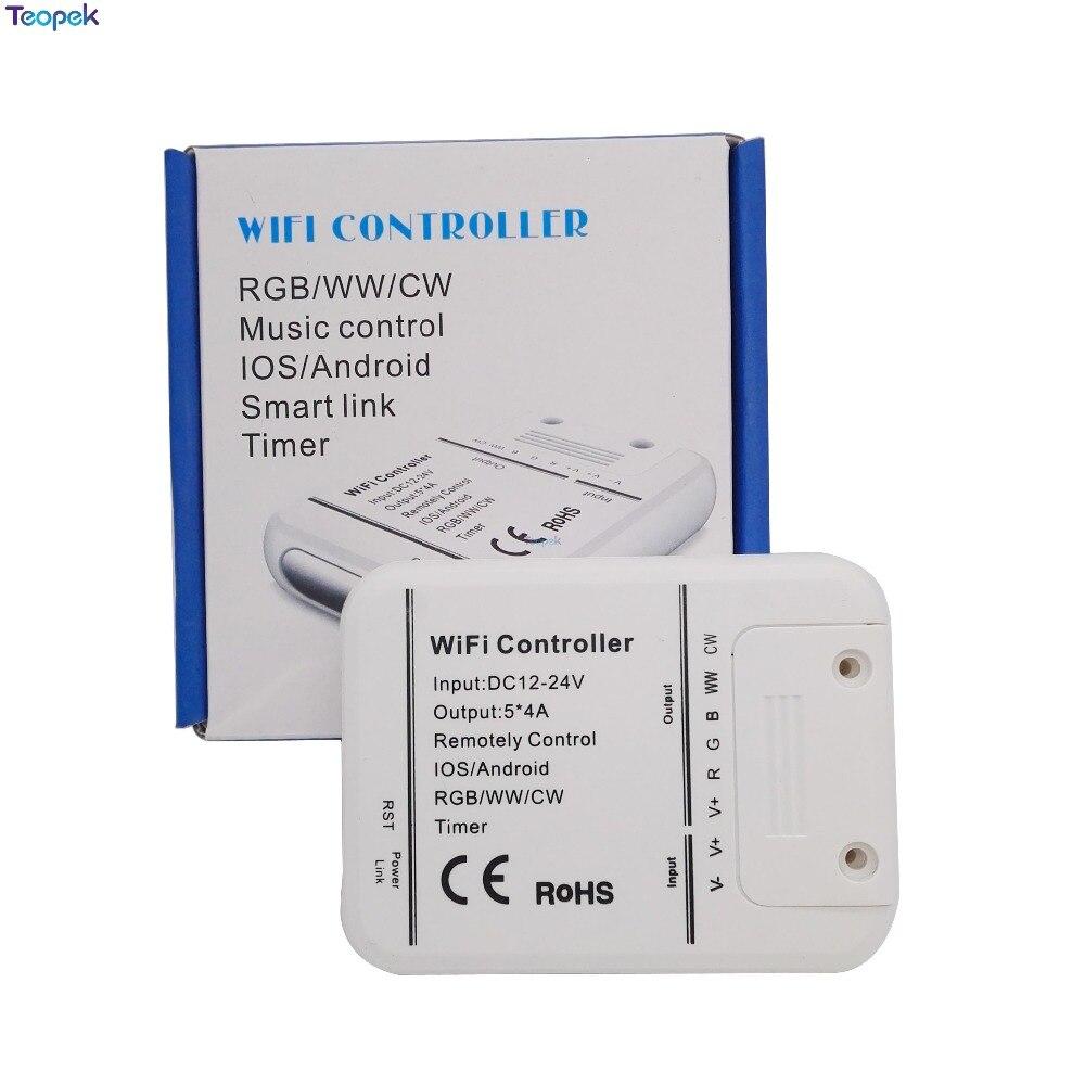 Magia casa 5 canales Wifi RGB/CW/WW controlador de LED de 16 millones de color DC12-24V 20A Smartphone control de música y modo de temporizador