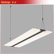 Lampe de pendentif LED acrylique moderne Rectangle Transparent Simple 4 couleurs luminaires de température pour bureau Restaurant étude