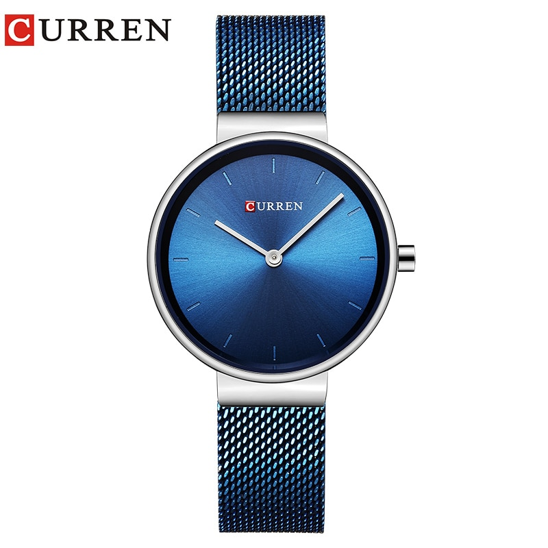 CURREN Simple Design Womens Casual Minimalist Slim Mesh Steel Quartz Wristwatches Ladies Clocks zegarek damski