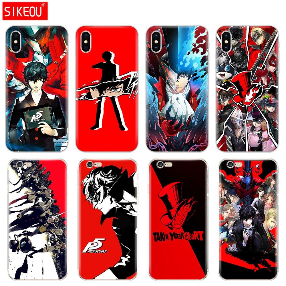De silicona cubierta del teléfono para el Iphone 6X8 7 6 s 5 s 5S SE Plus 10 XR XS. caso de Persona 5