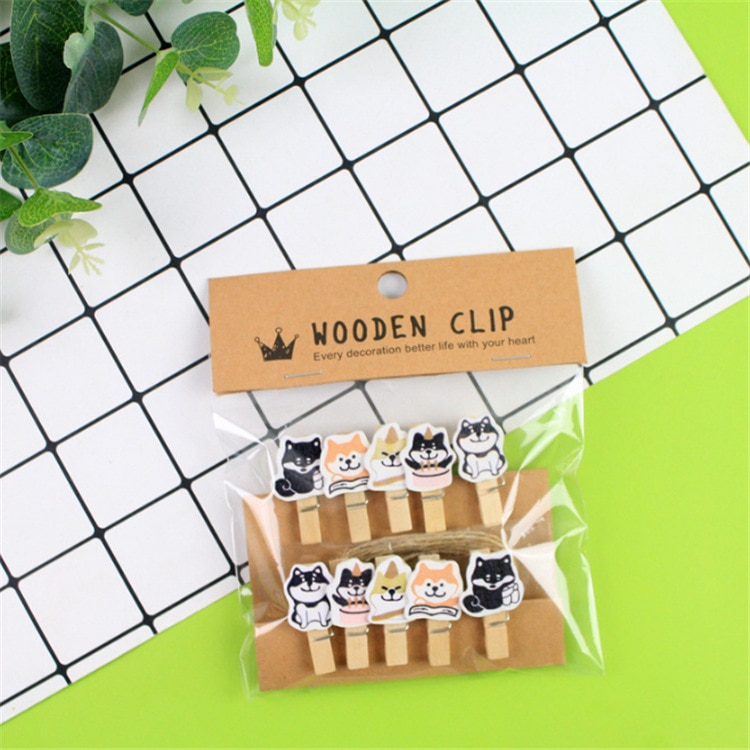 10 unids/pack perro Celestial de madera para mascotas foto Clip arte DIY Carpeta de clips regalo con cuerda de cáñamo