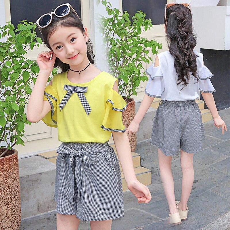 2020 Fashion Summer Children Clothing Sets Girl Plaid Shorts Tshirts 2PCS Suits Clothes Off Shoulder Tops And Shorts Clothes Set