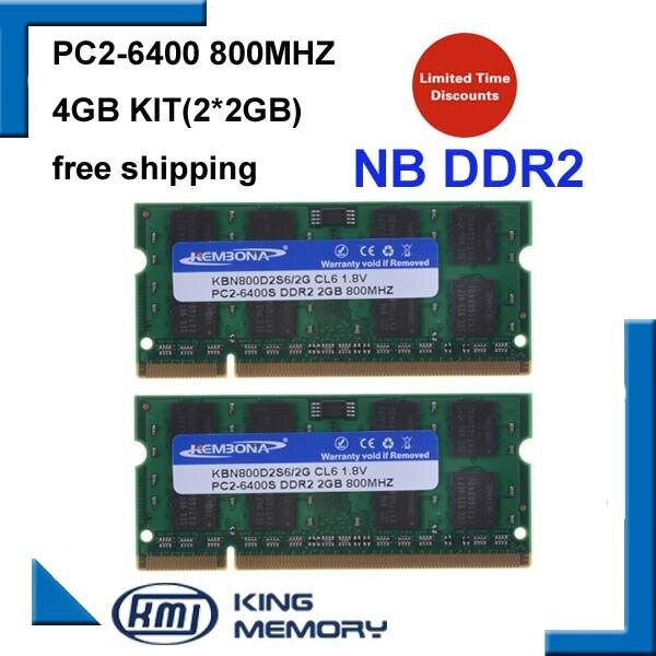 Kembona 4GB 2x2GB PC2-6400S DDR2-800 800Mhz 2gb 200pin DDR2 portátil de memoria 2G Notebook para SODIMM Ram envío gratis