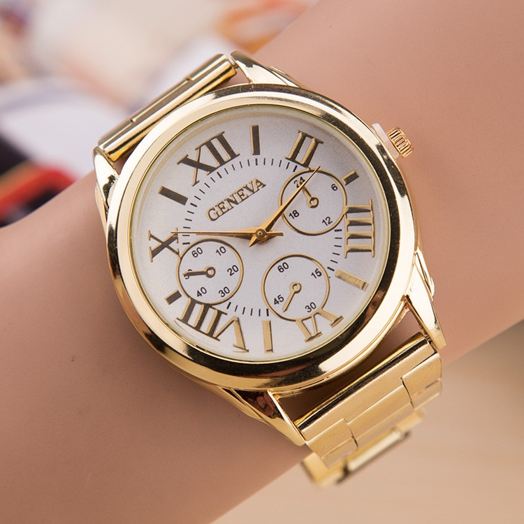 2020 New Brand 3 Eyes Gold Geneva Casual Quartz Watch Women Stainless Steel Dress Watches Relogio Fe