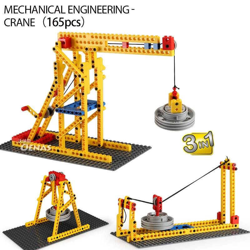 Máquina de grúa ingeniería mecánica 3 en 1, ingeniería, compatible con técnicas creativas, Educación DIY, bloques de construcción, kits para niños, juguetes de regalo