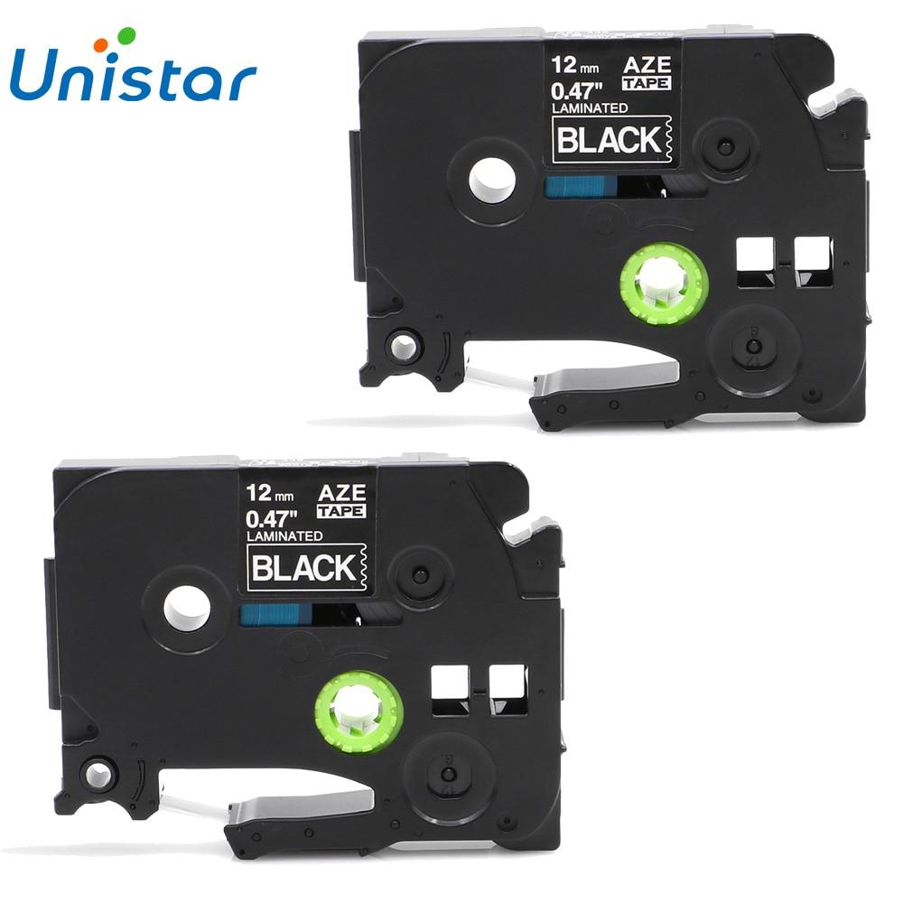 Unistar 2 uds cintas de etiquetas TZe335 compatibles para Brother p-touch Tape 12mm blanco sobre negro para Brother cintas TZ Tze-335 TZe 335