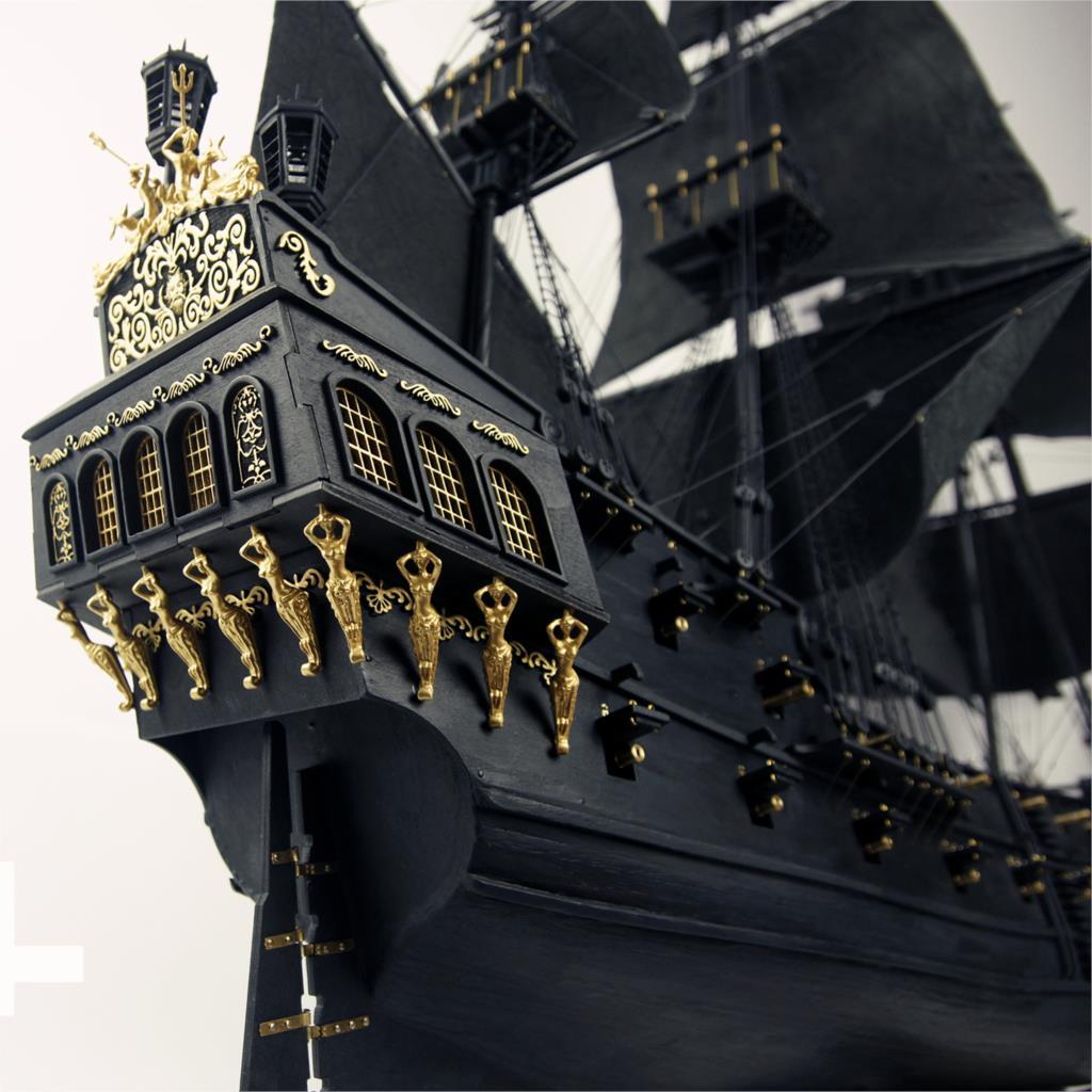 Versión 2018 actualizado 2015 barco de vela de perla negra interior completo 1/35 en kit de construcción de modelo de madera Piratas del Caribe