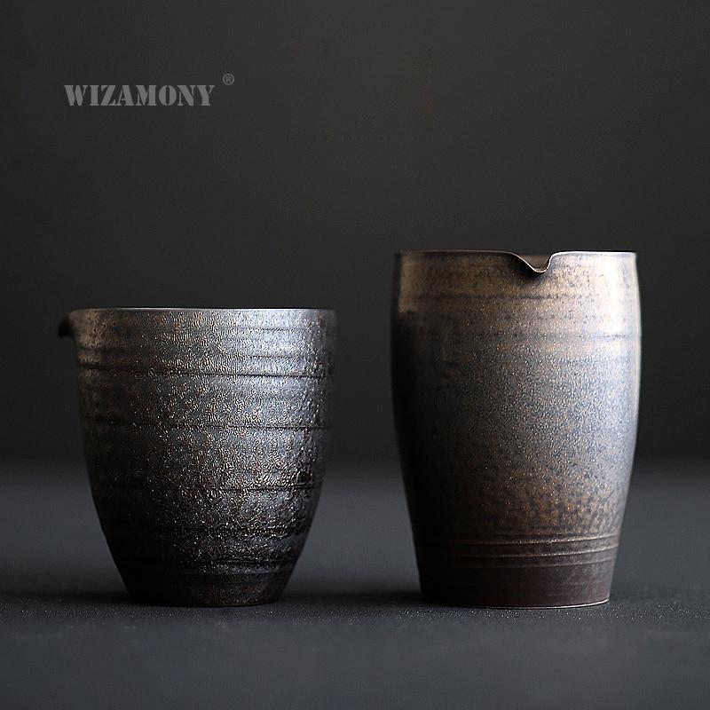 WIZAMONY-طقم شاي على الطراز الياباني ، إبريق شاي مصنوع يدويًا ، مقاوم للحرارة ، إبريق شاي من الفخار الخام ، كوب معرض Cha hai Gongdao