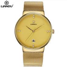 LIANDU marque de luxe hommes montre 30m étanche Date horloge mâle maille mince cadran sport montres hommes Quartz décontracté montre-bracelet