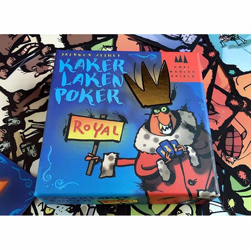 Juego de cartas reales Kaker Laken, juego de mesa de póker para niños, envío versión en Inglés fácil juego de mesa
