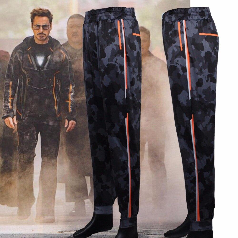 Iron Man Mens pantalones vengadores Infinity War Tony Stark Cosplay cordón Pantalones largos pantalones disfraces Nuevo 2018