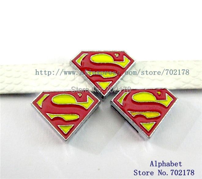 Superman mezcla pedido mínimo 10 $ venta al por mayor 100 piezas de Dia.8mm de dijes de deslizamiento para collares de mascotas de 8mm SL232 pulseras
