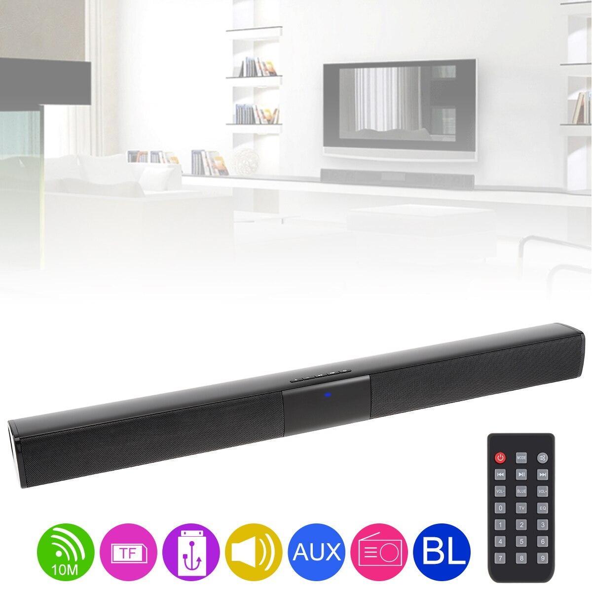 BS-28B Home Theater Surround Multi-función Bluetooth Soundbar altavoz con 4 cuernos de rango completo/3,5mm AUX/RCA interfaz para TV
