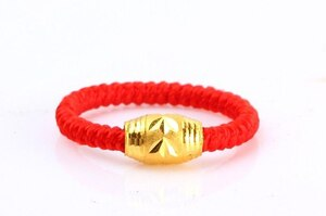 Authentic 999 Solid 24K Yellow Gold Ring/ Bless Knitted Loose bead Ring