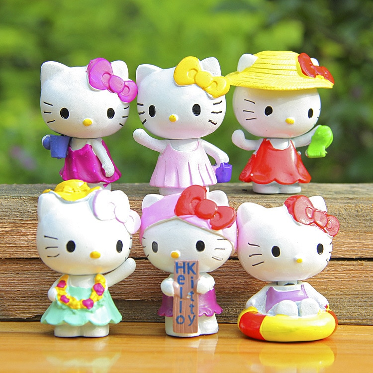 Gran oferta de figuras de acción de Hello Kitty, set de 6 piezas de regalo de PVC de 5cm para niños, envío gratis