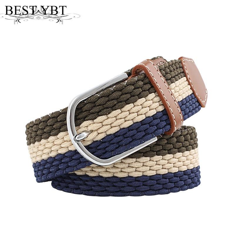 Best YBT Unisex canvas belt Alloy pin buckle Braided elasticity canvas men belt casual cowboy fashion women decoration belt