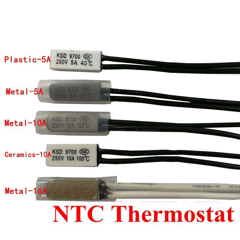 10pcs Thermostat 10C-240C KSD9700 70C 75C 80C 85C 90C 95C Bimetal Disc Temperature Switch Thermal Protector degree centigrade